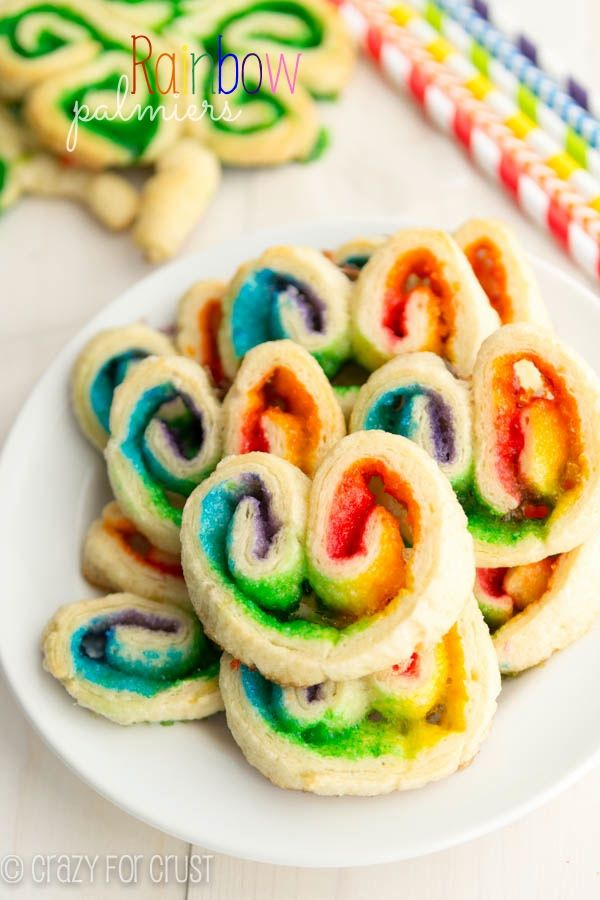 Super easy Rainbow Palmiers for St Patrick's Day | Crazy for Crust
