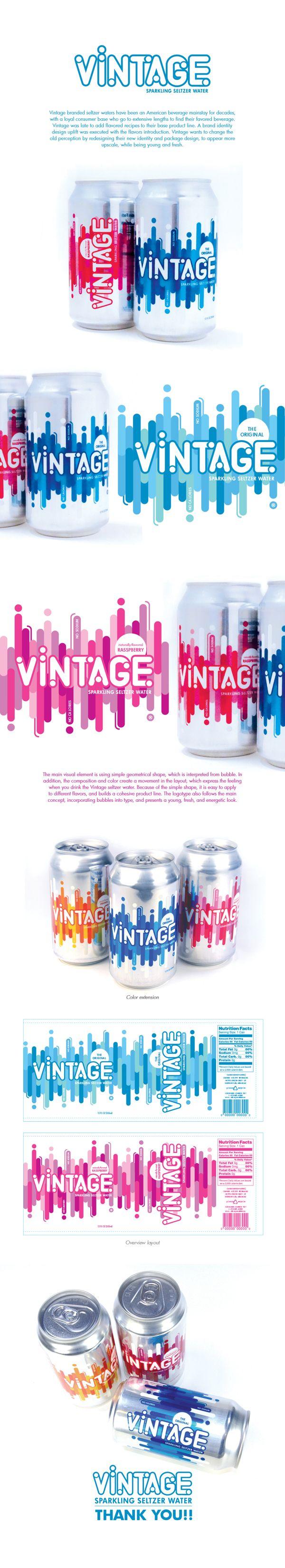 Vintage Seltzer Water Rebranding by CHENGWEN fung, via Behance PD