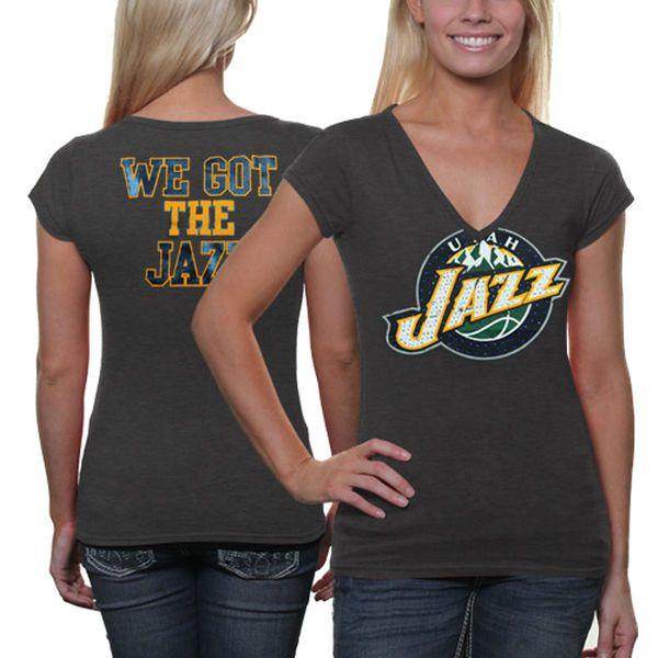 Utah Jazz Women's Turnover V-Neck T-Shirt - Charcoal - $18.99