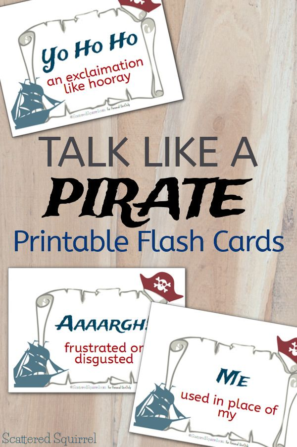 Talk Like a Pirate Printable Flash Cards from Scattered Squirrel
