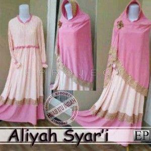 Baju gamis syar'i modern aliyah pink P121