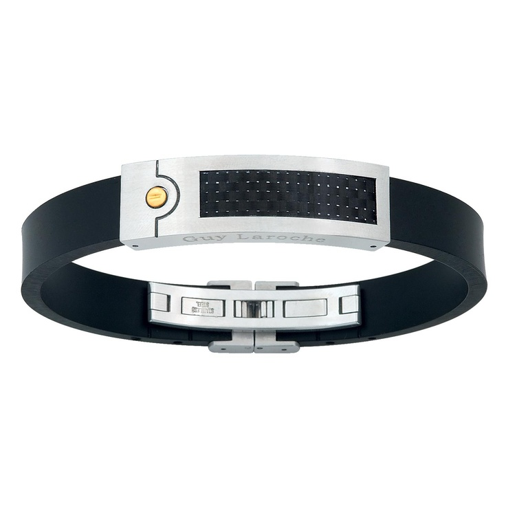 Guy Laroche Men Rubber and stainless steel bangle