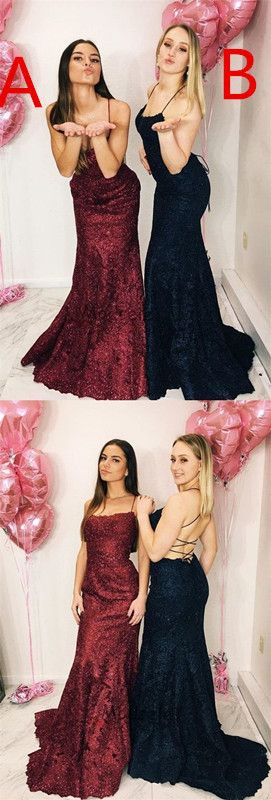 Elegant burgundy lace mermaid prom dresses, simple long evening dresses for women,beautiful lace up back prom dresses for teens