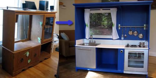 Repurposed entertainment center: Kiddie Kitchens, Repurposed Entertainment, Summer School, Renewals Repurposed, Jham Ideas, Entertainment Ideas, Kids Kitchens, Entertainment Center