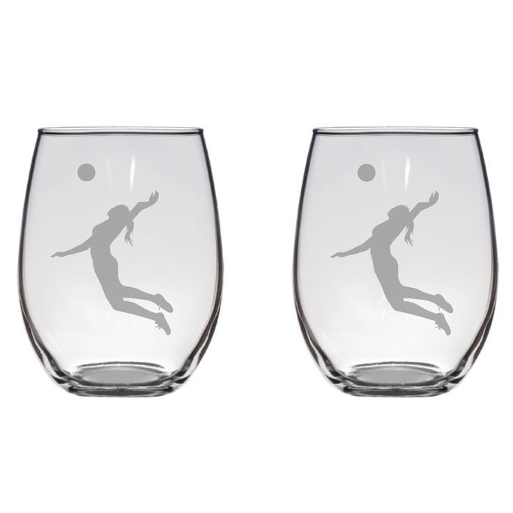 Female Volleyball Player Engraved Glass, Gift