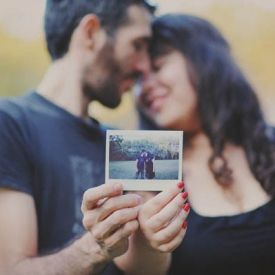 A sweet engagement session with polaroids and oversized letters.