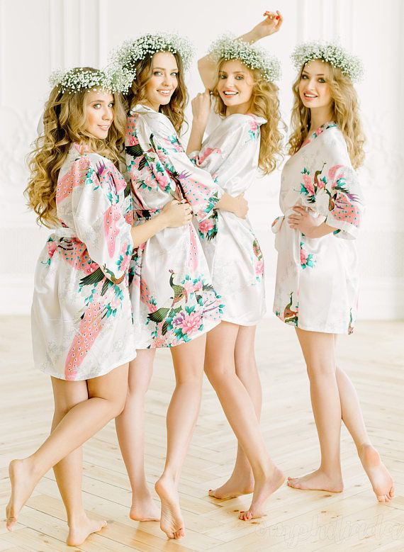 Floral Satin Bridal Robes - Silk Floral Robe - Dressing Gown ...