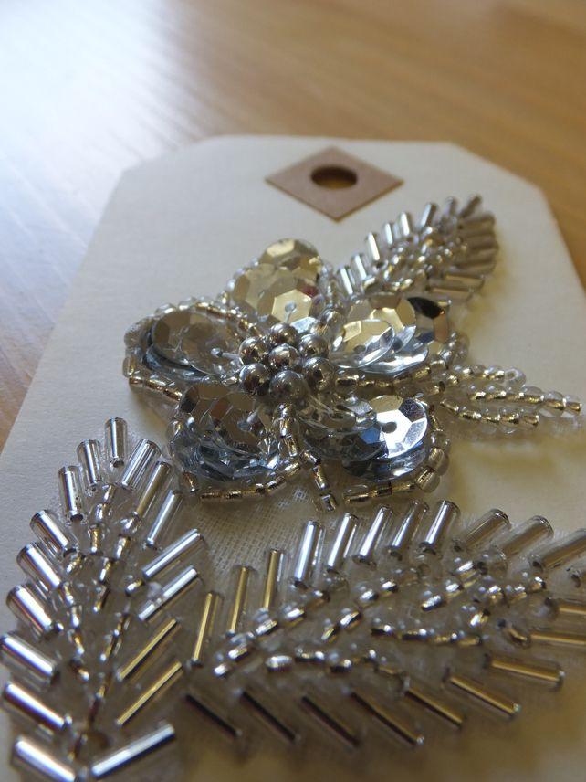 silver sequin flower applique
