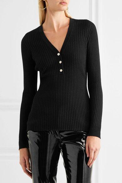 Versace - Ribbed Wool-blend Sweater - Black