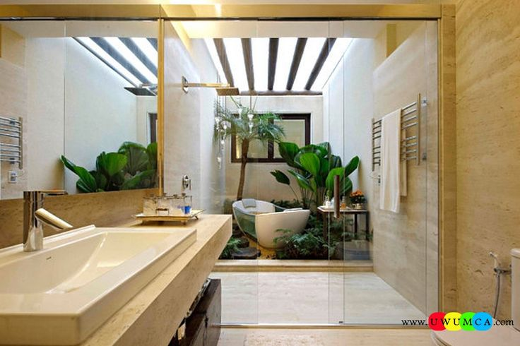 Bathroom:Decorating Modern Summer Bathroom Decor Style Tropical Bath Tubs Ideas Contemporary Bathrooms Interior Minimalist Design Decoration Plans Greenery In The Bathroom Cool and Cozy Summer Bathroom Style : Modern Seasonal Decor Ideas