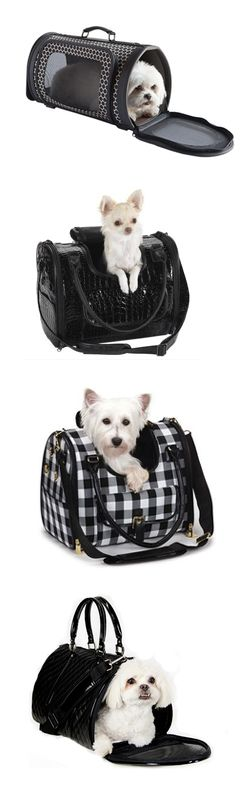 black and white dog carriers / purses