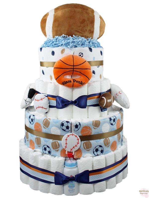 sports diaper cake | All Sport Diaper Cake
