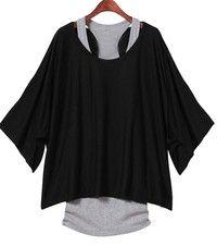 Wish | 2PCS Fashion Women Sexy Loose Top Casual Batwing Sleeve Dolman Blouse T-Shirt+Tank Vest(Black/Grey/Khaki/Blue;Size S-XXL)