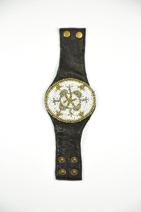 leather beadwork cuff bracelet