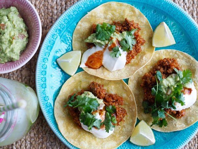 Nyhtökaura-kvinoa tacot bbq-kastikkeella
