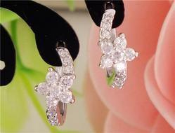 Flower Cubic Zircon Hoop Earrings