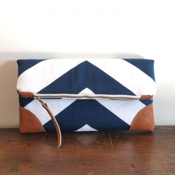 Eleven Roosters | Accessories | Bags and Purses | Nautical Foldover Clutch/ Blue-White Chevron - The hip online handmade gift market