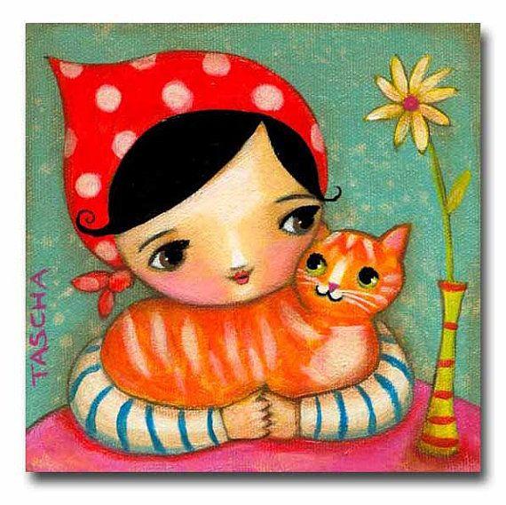 Orange Ginger Kitty Cat illustration by tascha - etsy