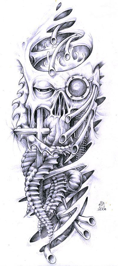 Biomechanical Face And Skull Tattoo Designs - Tattoo Ideas