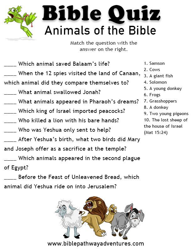 Printable bible quiz - Animals of the Bible