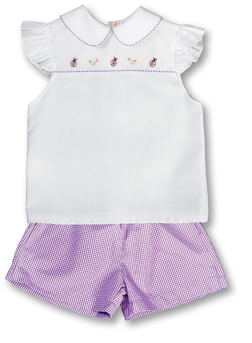 Ladybug Shadow Embroidered White/Purple Angel Sleeve Girl Blouse/Pants Set 17SU 5928BP2