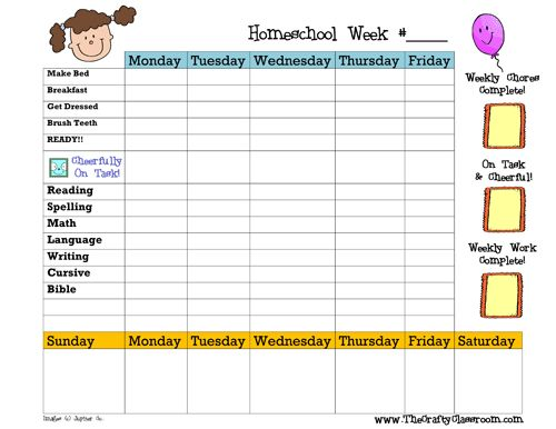 Weekly homeschool planner - there is a blank version so you can make it fit your home school