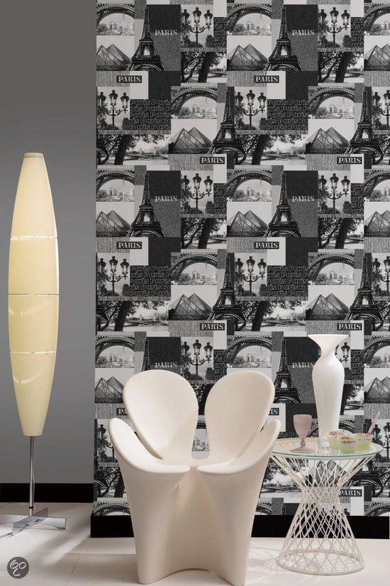 Dutch Wallcoverings Parijs - Zwart/zilver