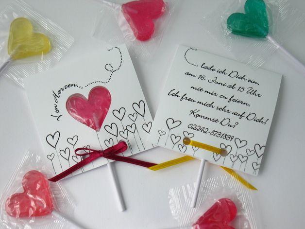 Herz Lolli Kindergeburtstag Einladungskarten *** heart lollipop kids birthday party invitation cards