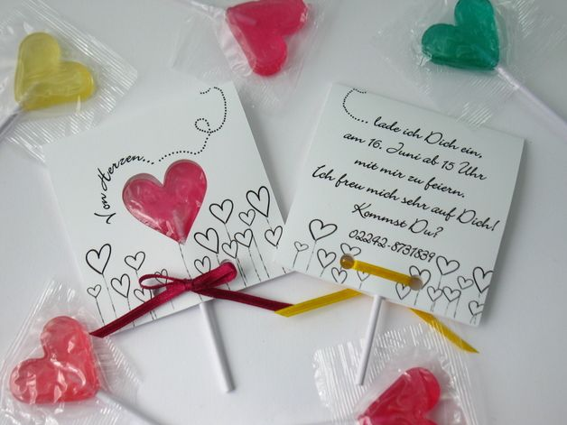 Herz Lolli Kindergeburtstag Einladungskarten *** heart lollipop kids birthday party invitation cards