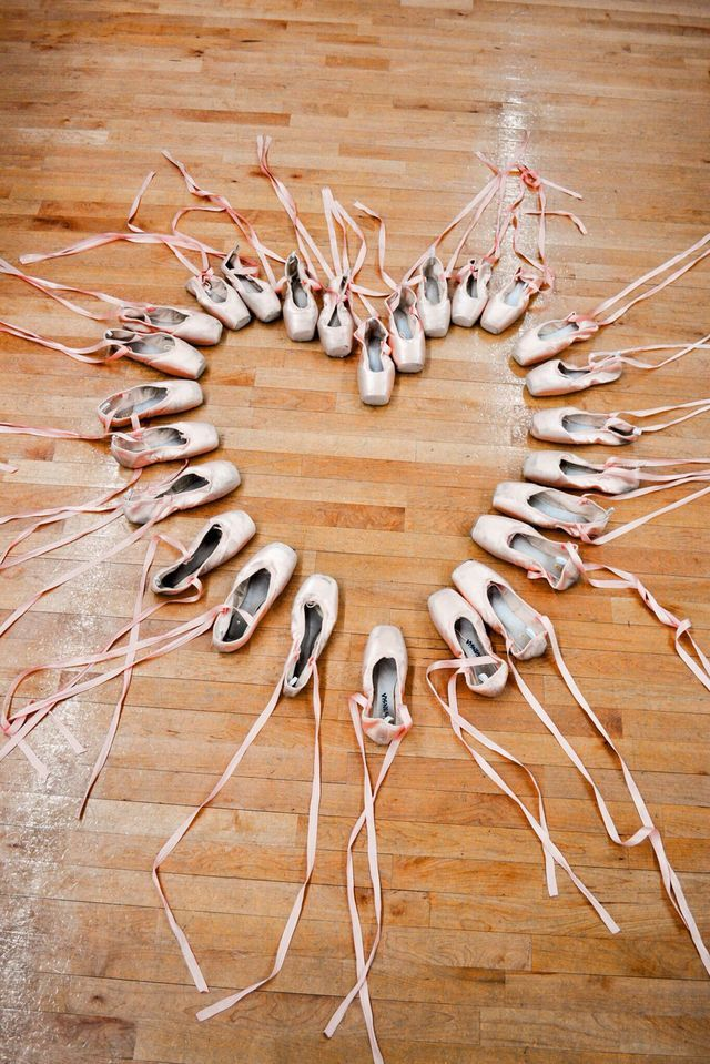 Pointe shoes arranged in a heart!!