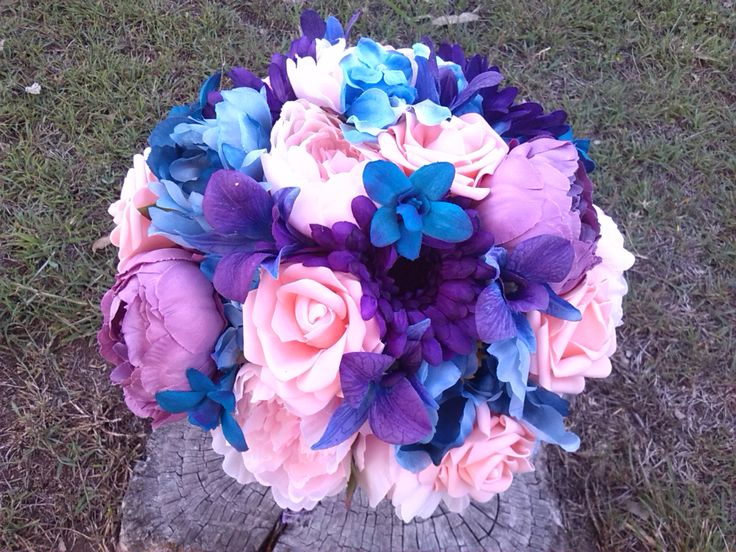 Pink, blue and purple bouquet for an engagement party!