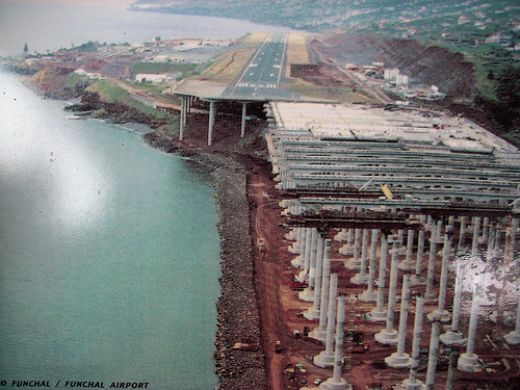 Madiera airport expansion. We arrived during construction: you do NOT want to look down and see the foreground of this picture (which I did)  http://travelgirl.hubpages.com/hub/Madeira-Airport