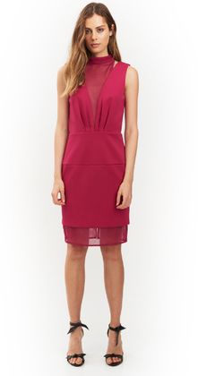 Raphael Halter Dress by HONEY & BEAU has a rounded mesh halter neckline with thick straps. The women's dress has a centre back invisible zip fastening and botton loop closeure. The dress features tucked waist seam,  mesh panelling plunging v neckline, back plus hemline. Falls down to approximately the knee with a straight sheer hem.  Comes in vibrant Fuschia.