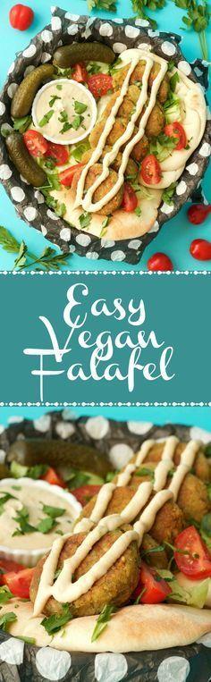 Easy Vegan Falafel with a Garlic Tahini Sauce! Crispy and perfectly browned. Delicious for a plant-based dinner! Vegan   Vegan Food   Vegan Dinner   Dairy Free   Vegan Recipes