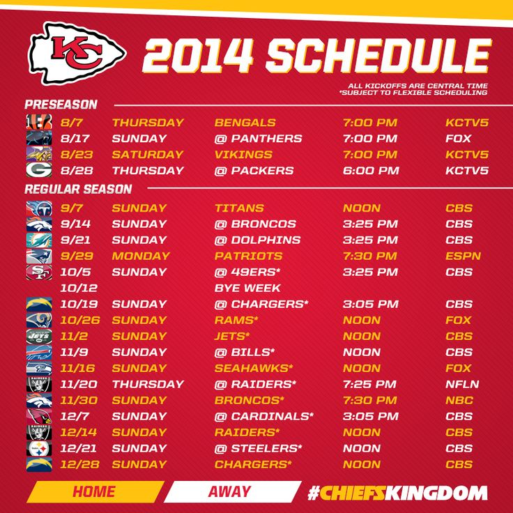 Kansas City Chiefs 2014 Schedule Announced