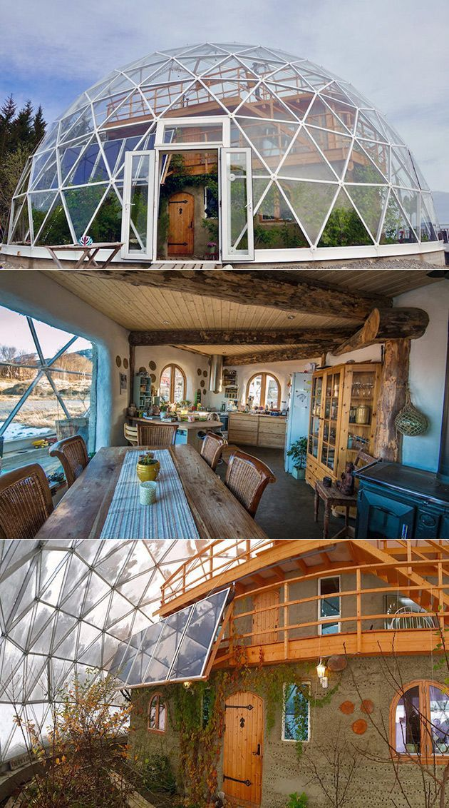 Geodesic Nature Home with a cob house