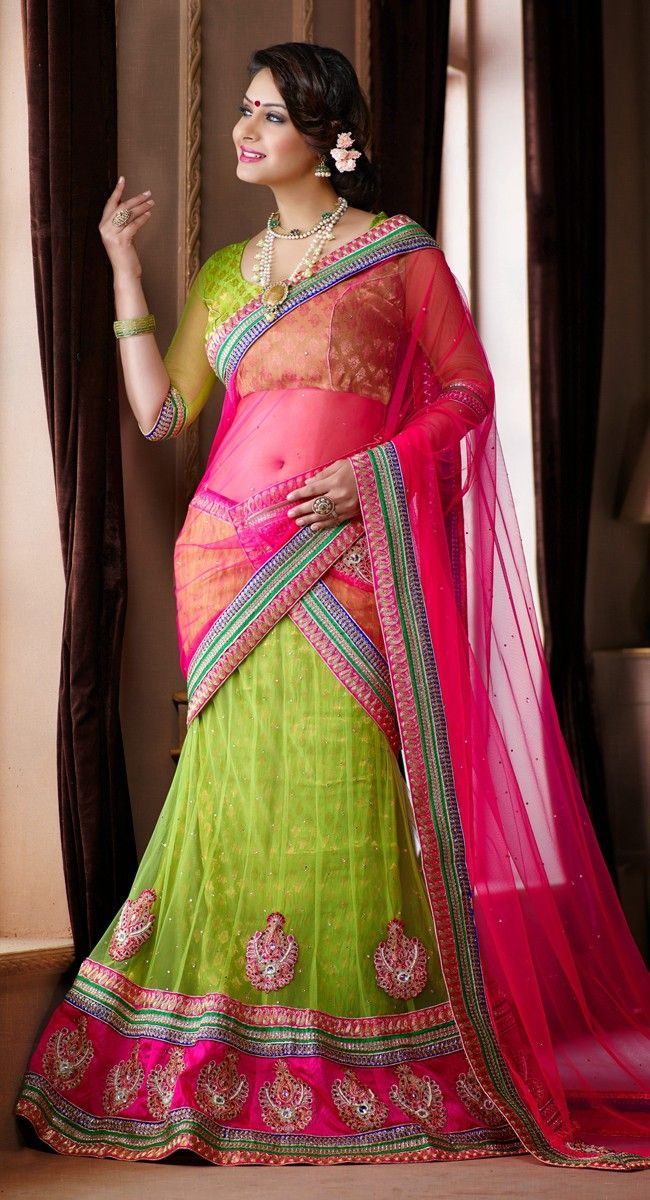 Green color Party Wear #Lehnga #Choli-Net Lehenga Choli