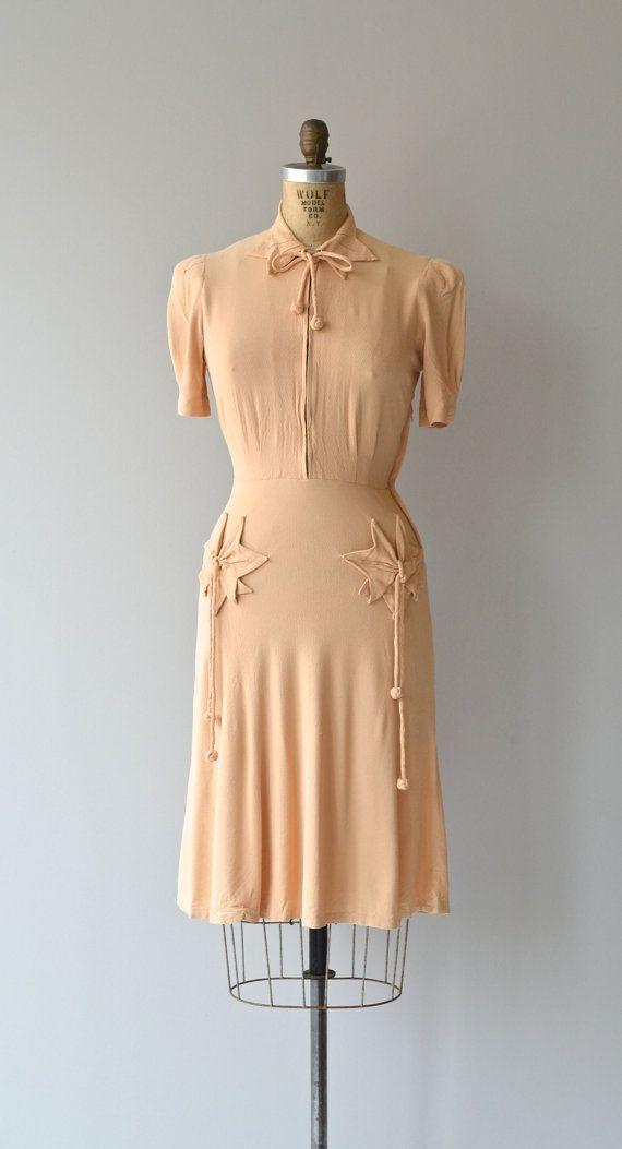 Bramasole dress vintage 1930s dress crepe 30s by DearGolden