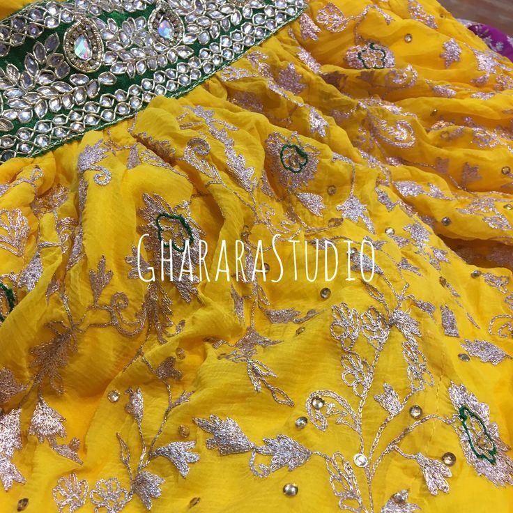 Gharara in yellow Georgette with zari handwork embroidery.  Colour can be customised.   #gharara #ghararastudio #ghararastudiobyshazia #redgharara #bridalgharara #bridal #wedding #weddingdress #kamkhawab #kimkhaab #chiffon #georgette #fashion #fashionstyle #instafashion #fashiongram #fashiondiaries #blog #blogger #fashionblogger #indianfashion #indiandress #ethnic #traditional #delhi #royal #manjha #manjhadress #georgettegharara #bridalgharara