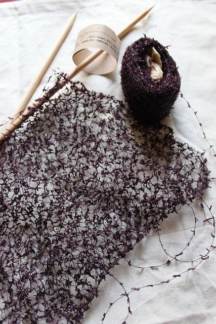 """Wonderful yarn available from Habu (50% linen, 50% nylon) makes a wonderful knit!  """"Knit Nation - What did i buy?"""" image from owl_mania & knit nation on flickr"""