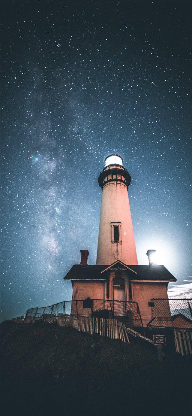 Beacon Iphone X Wallpaper Night Sky Star Lighthouse Milkyway Wallpaper Background