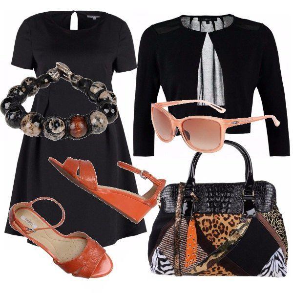 Abito+corto+svasato+nero+con+bolero+nero+con+maniche+a+3/4.+Abbiniamo+una+divertente+borsa+shopper+a+mano,+con+patchwork+di+diverse+fantasie+nei+marroni,+arancioni+e+neri.+Finiamo+con+un+paio+di+sandali+con+zeppa+bassa+in+color+arancione,+bracciale+a+palline+marmorizzate+e+occhiali+da+sole+color+pesca.