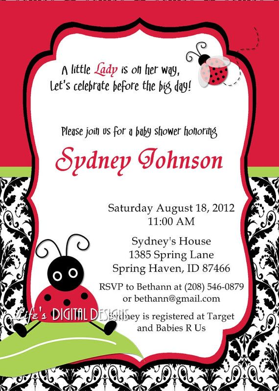 Lady Bug Baby Shower Invitations Damask or by lifesdigitaldesigns, $14.00Baby Shower Lady Bugs, Baby Shower Girl Ladybug Bugs, Baby Shower Invitations, Ladybugs Baby Shower Theme, Baby Shower Ideas Lady Bugs, Invitations Damasks, Lady Bugs Baby Shower Theme, Baby Stuff, Lady Bug Baby Shower