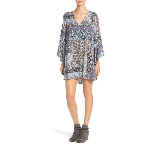 Women's Lush 'Whitney' Bell Sleeve Woven Shift Dress ($32) via Polyvore featuring dresses, denim patchwork, white bell sleeve dress, long-sleeve denim dresses, white dress, cutout dresses and white denim dress