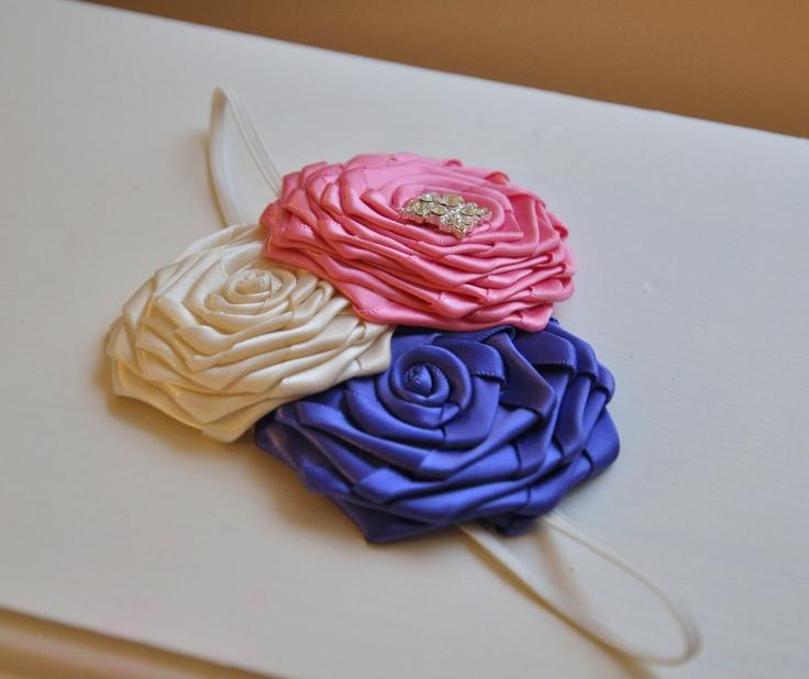 Handmade items rock! Like this newborn cream, pink and purple  headband
