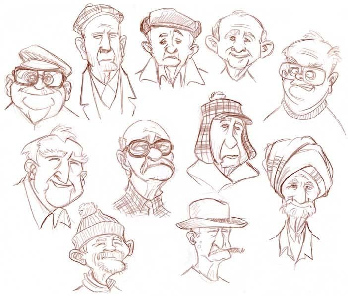 sketch old men - Recherche Google                                                                                                                                                                                 More