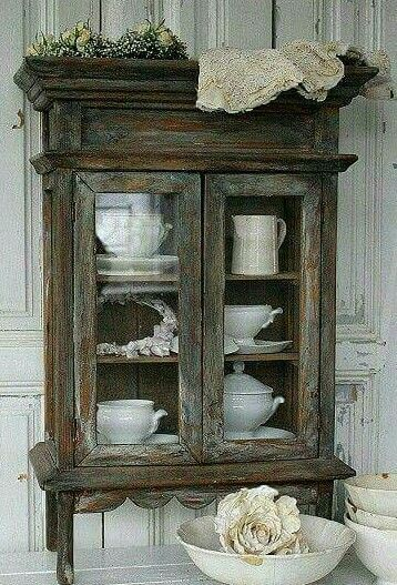 Wow, I Just Love This Mini Cabinet With All Of Its Rustic Charm.~~~~Love  This Cabinet With White Ironstone~~~