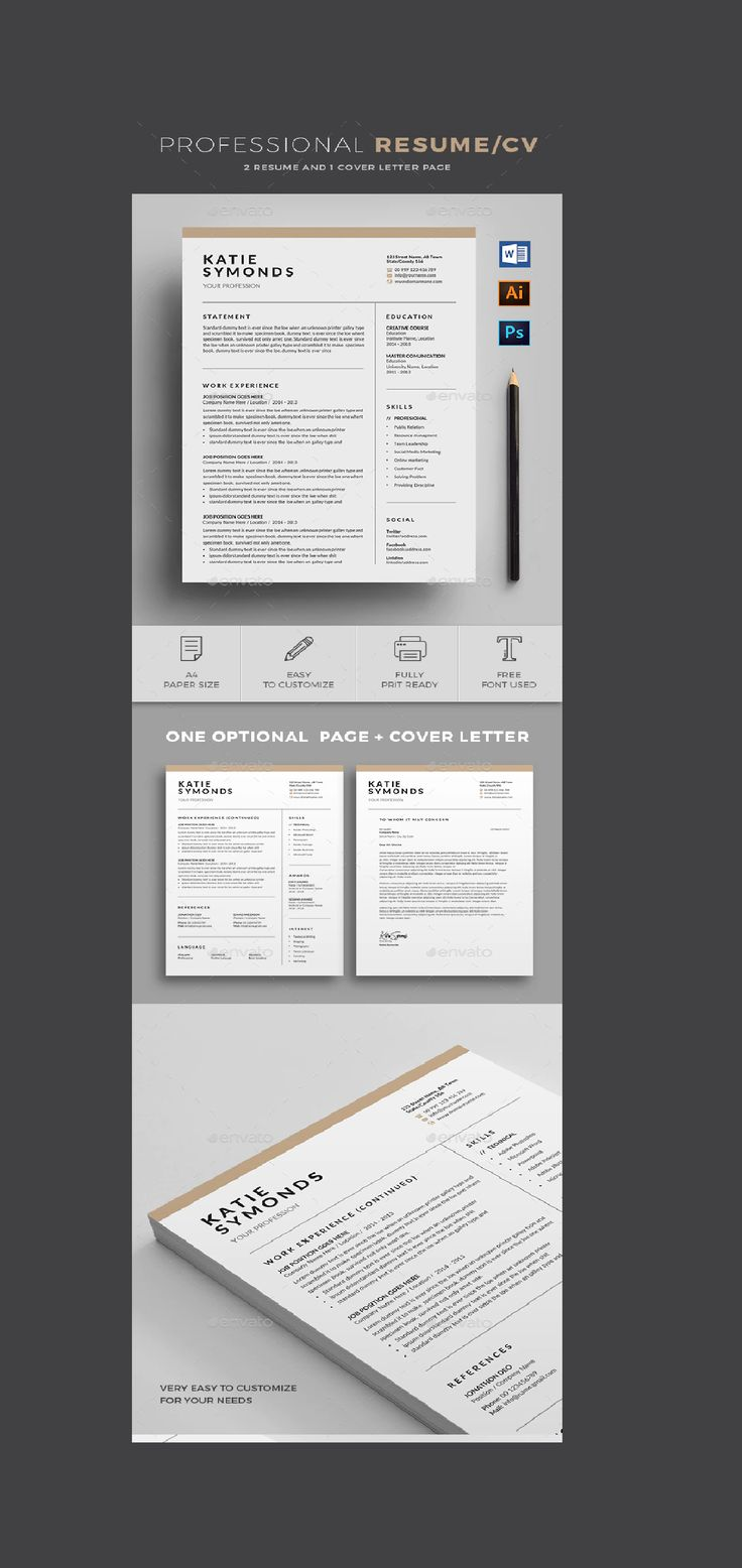 2 Page Professional Resume/cv template to help you land