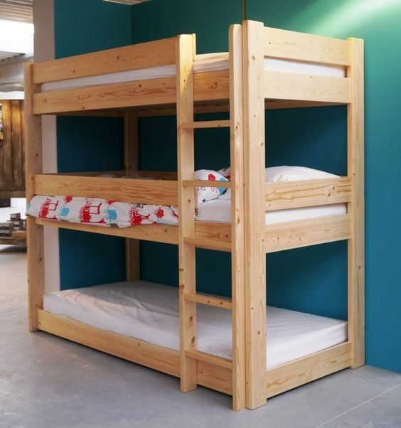 DIY Triple Bunk Bed Plans | Triple Bunk Bed PDF Plans wooden plan file bookcase unfinished: