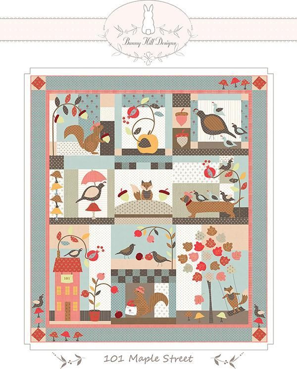 New 101 Maple Street Bom Quilt Kit By Bunny Hill Designs Moda Quilting Sewing Fabric Squirrels Fall Quilt Kit Patte Quilt Kit Bunny Designs Quilts